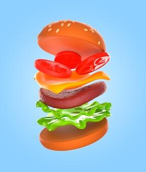 おいしいハンバーガーレンダリングモックアップ