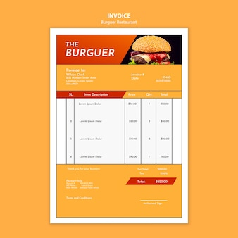 Delicious burger restaurant invoice