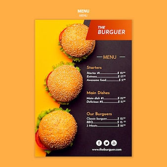 Delicious burger restaurant menu