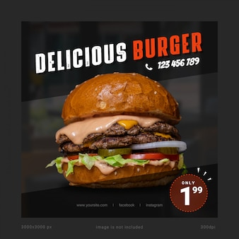 Delicious burger social media banner template Premium Psd