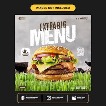 Delicious burger social media instagram post banner template