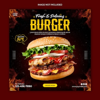 Delicious burger social media post advertising banner template