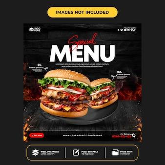 Delicious burger social media post template