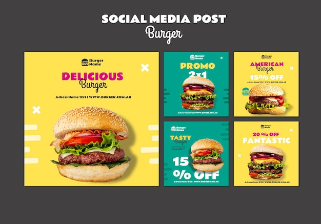 Modello web post di social media delizioso hamburger