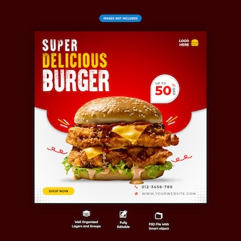 Delicious burger social media sqaure banner template premium psd