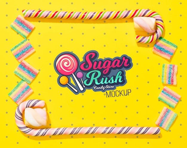 Макет концепции вкусных конфет