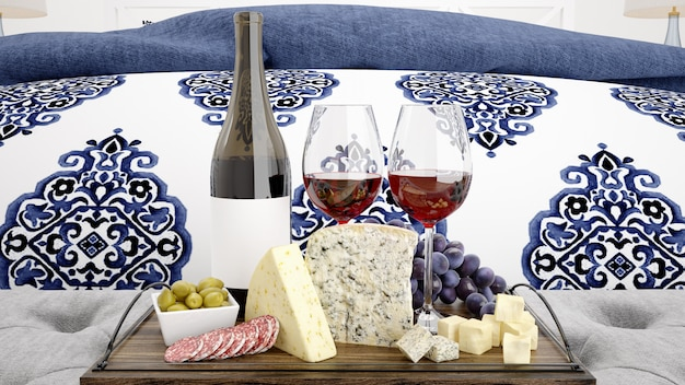 Delicious cheese assortment with red wine mockup