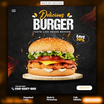 Delicious chicken instagram promotional post design template