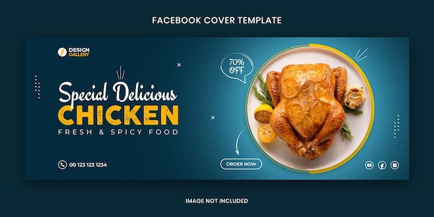 Delicious chicken web and social media fast food restaurant cover banner template