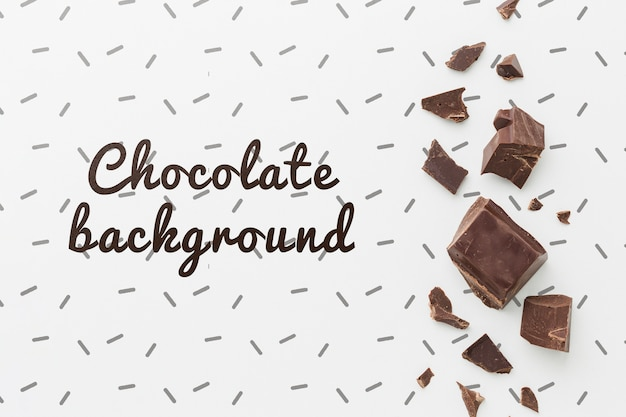 Delicious chocolate pieces on white background mock-up