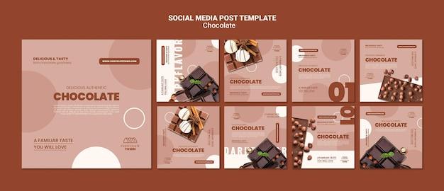 맛있는 초콜릿 소셜 미디어 게시물