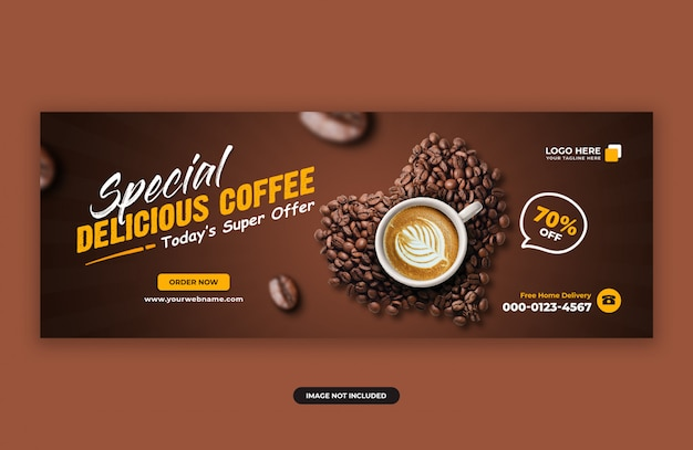 Delicious coffee sale facebook cover banner design template