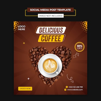 Delicious coffee social media and instagram post template