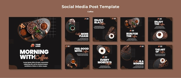 Delicious coffee social media posts