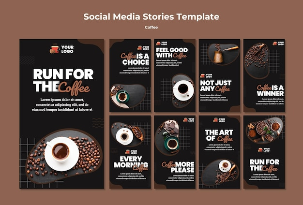 Delicious coffee social media stories Premium Psd