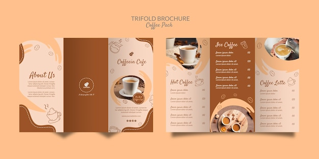 Delicious coffee trifold brochure coffee template