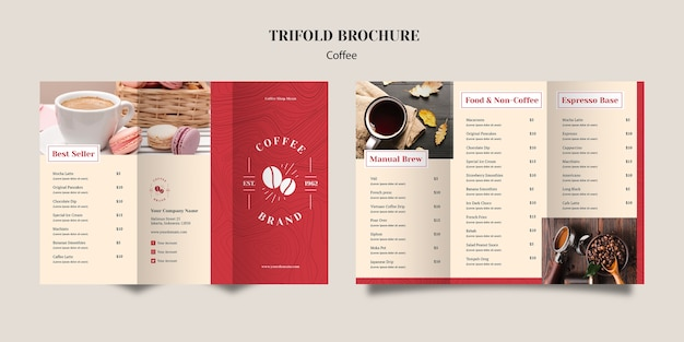 Delicious coffee trifold brochure