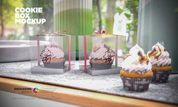 Вкусный макет коробки для кексов в 3d-рендеринге