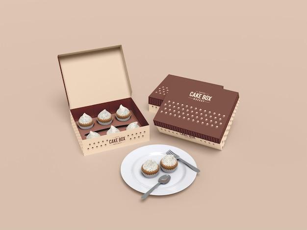 Delicious cupcake packaging mockup