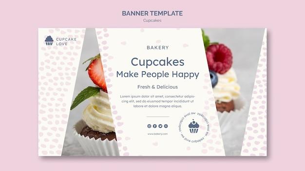 Modello di banner deliziosi cupcakes