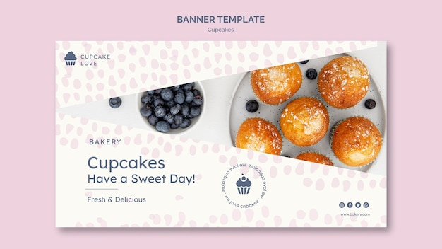 Delicious cupcakes banner with photo