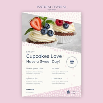 Delicious cupcakes flyer template with photo