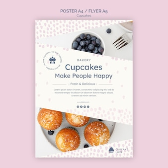Delicious cupcakes flyer template