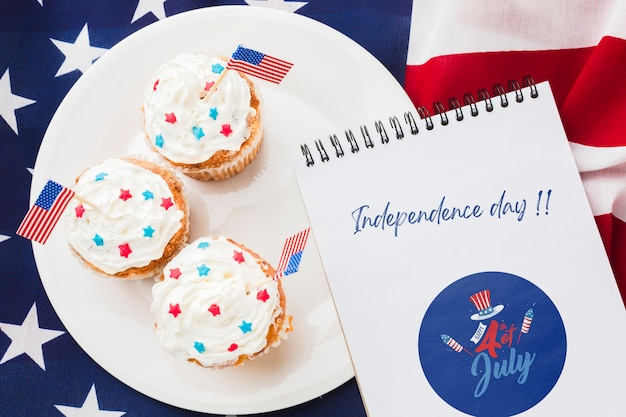 Delicious cupcakes for independence day