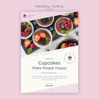 Delicious cupcakes poster template with photo