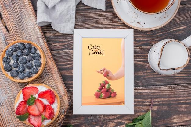 Delicious dessert concept mock-up