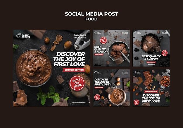 맛있는 디저트 판매 소셜 미디어 게시물