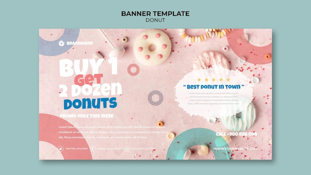 Delicious donut offer banner template