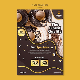 Delicious donuts flyer template