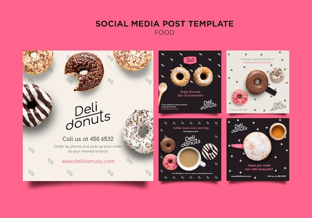 Delicious donuts instagram posts template