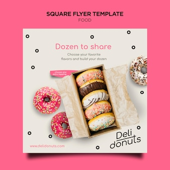 Delicious donuts square flyer
