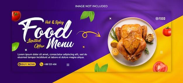 Delicious fast food web banner, social media post template