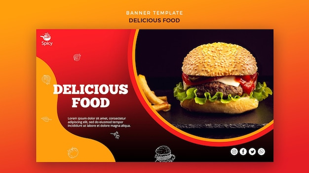 Delicious food banner design