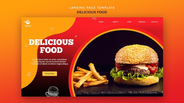 おいしい食べ物のランディングページのデザイン