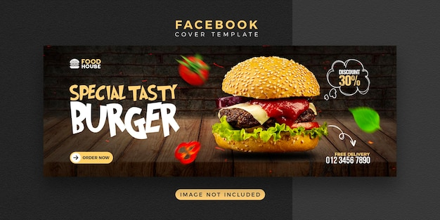 Delicious food menu facebook cover template