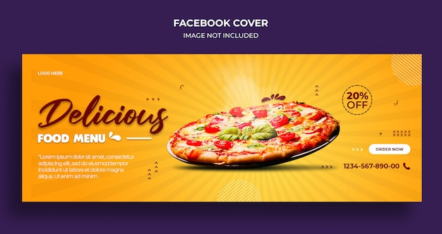 Delicious food menu facebook timeline cover and web banner template