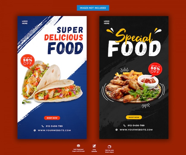 Delicious food menu or restaurant food instagram stories post template