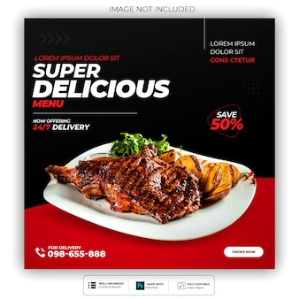 Delicious food menu and restaurant social media post template