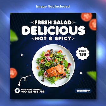 Шаблон поста в социальных сетях delicious food menu