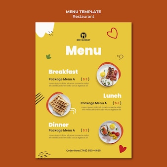 Шаблон меню вкусной еды