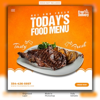 Delicious food promotional instagram post design template
