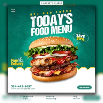 Delicious food promotional post design template