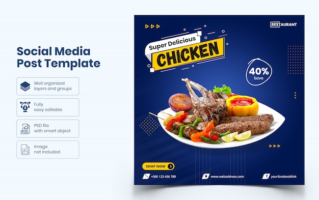 Delicious food sale social media banner template