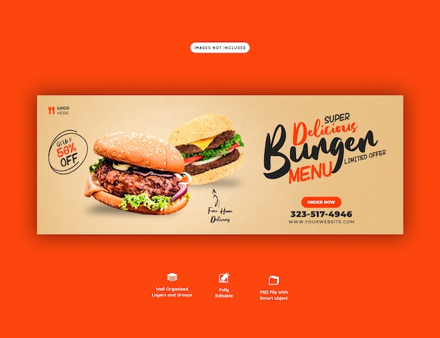 Delicious food sales menu facebook cover template