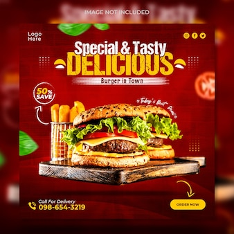 Delicious food social media banner post template