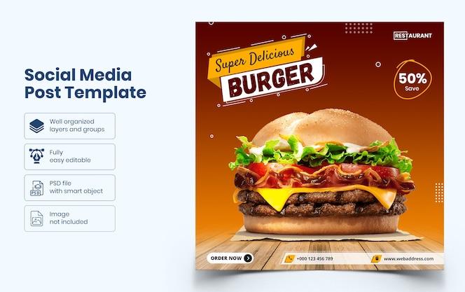 Modello di banner social media cibo delizioso